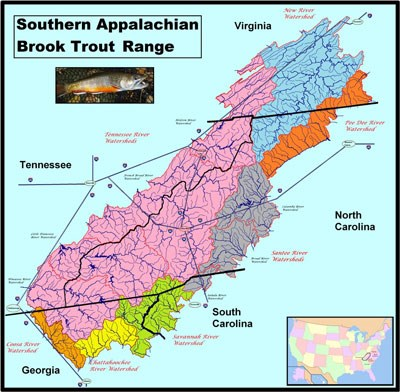 A map showing the range of Southern Appalachian Brook Trout in the southeastern U.S.
