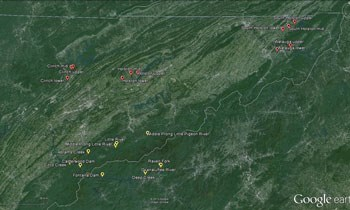 A map showing the sites sampled for didymo in eastern Tennessee.
