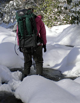 Megan on the way to check lysimeters in winter.