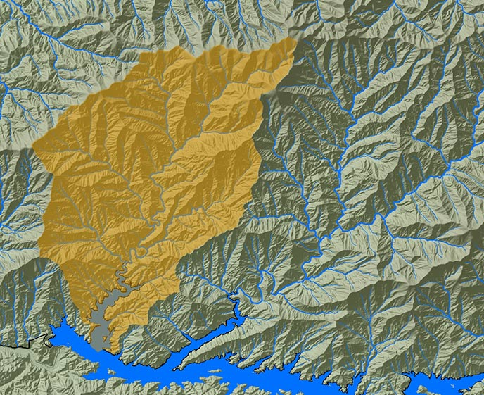 map of Eagle Creek watershed in Great Smoky Mtns. NP