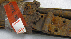 Historic hinges recovered from people who poached a site.