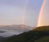 Rainbows over the mountains.