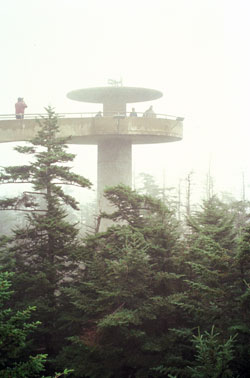 At an elevation of 6,643 feet, the observation tower at Clingmans Dome stands on the park's highest peak.