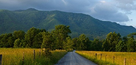 Cades Cove road in front of the mountains