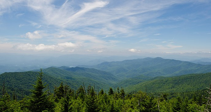 Ridge after ridge of mountains can be seen from Clingmans Dome
