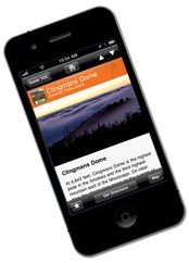 Clingmans Dome page on iPhone