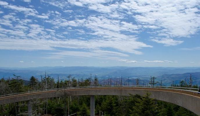 Concrete walkway to the observation tower on Clingmans Dome
