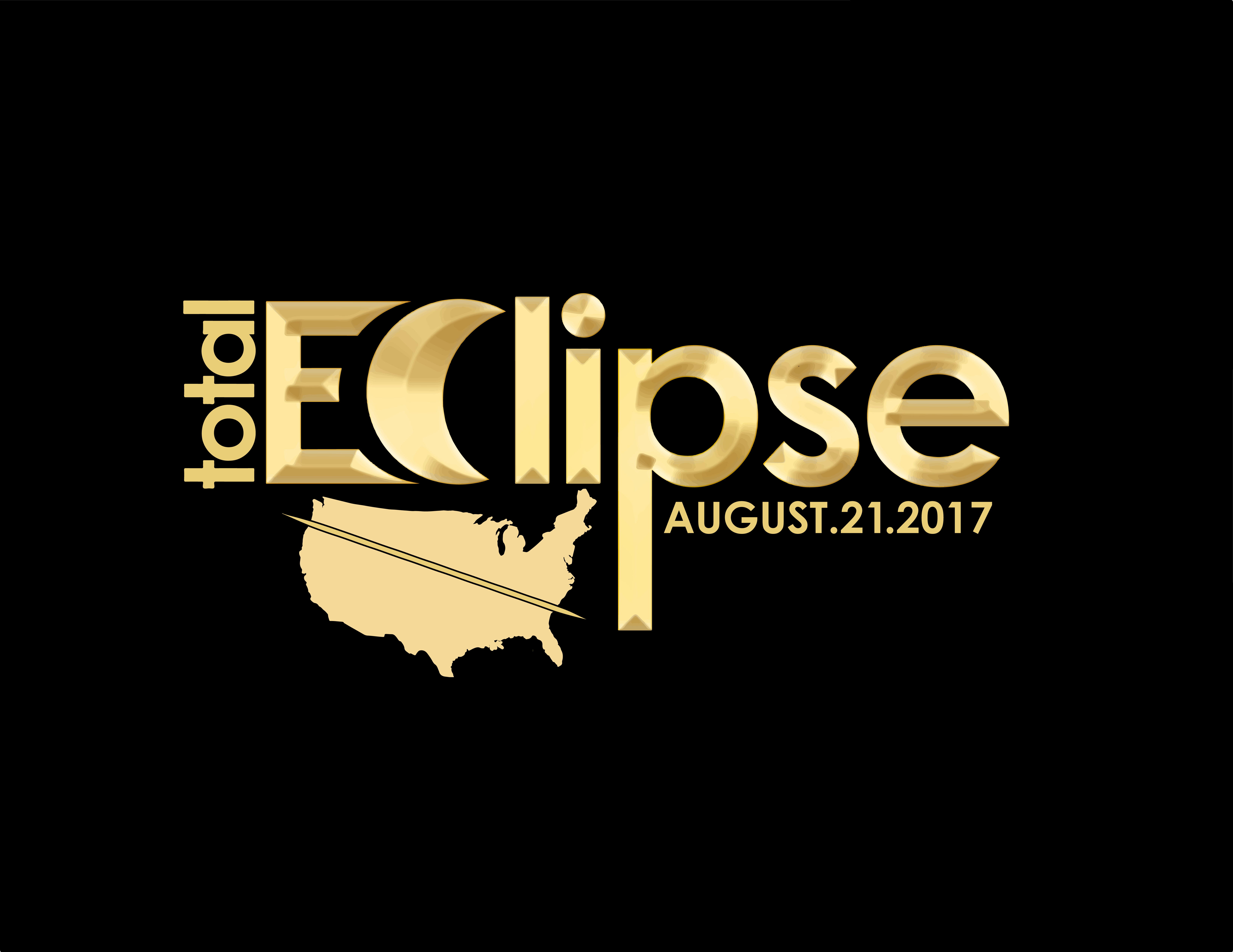 "Black background gold writing ""Total Eclipse August. 21. 2017"""