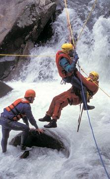 Rangers practice a dangerous water rescue.