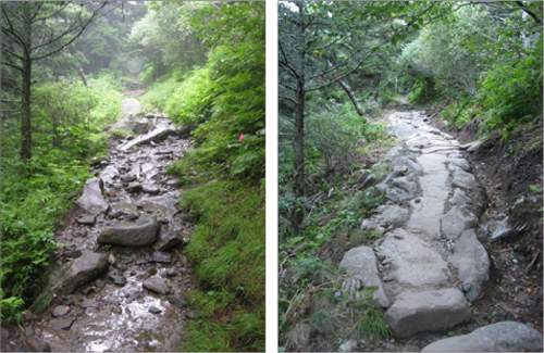 Before and after of rock turnpike