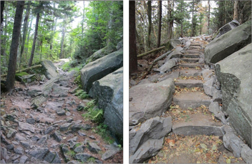 Before and after of rock staircase