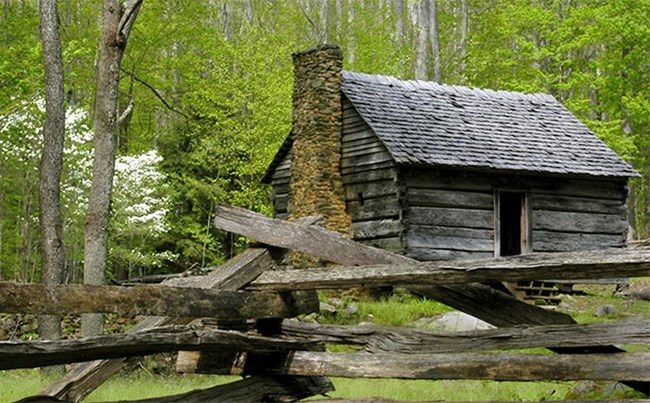The Jim Bales Cabin on the Roaring Fork Motor Nature Trail.