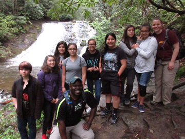 Part of the group from Cherokee Middle School on a Hike 100 hike