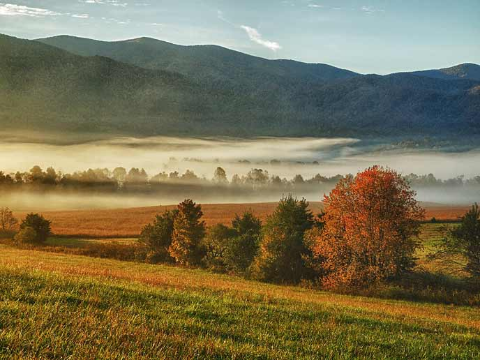 Morning fog covers the valley in Cades Cove while blue mountains rise in the background