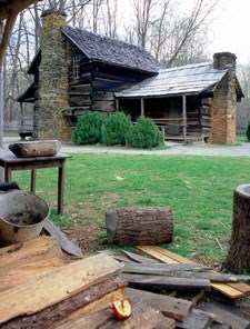 The John Davis house at the Mountain Farm Museum.