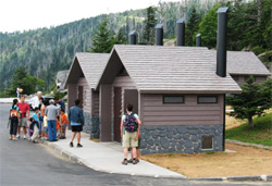 New vault toilets installed in the Clingmans Dome parking area.