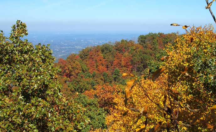 Colorful trees frame the distant valley of Maryville, TN.