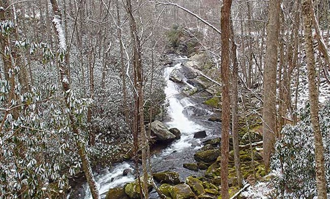 A waterfall slides over a rock outcrop in a snowy forest