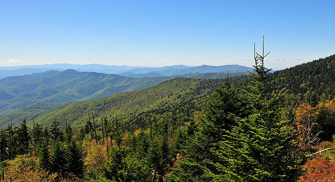 Forested mountains stretch to the horizon under a clear blue sky.