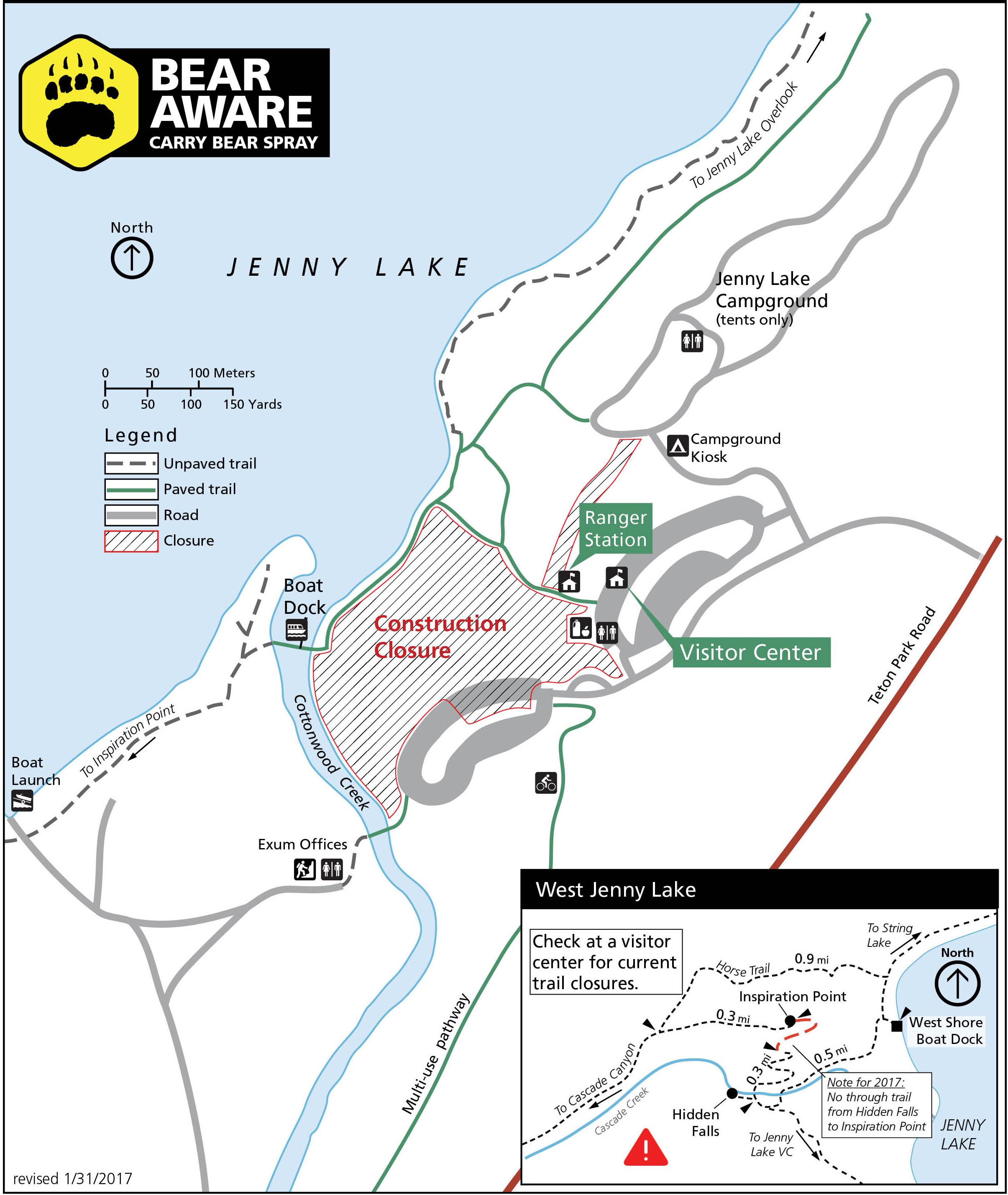 Jenny Lake Renewal Project Grand Teton National Park US - Us 50 closure map