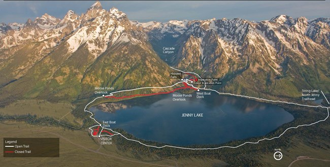 Map of Jenny Lake Area Trails, 2018