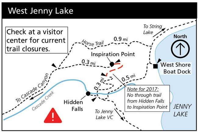 Map of West Jenny Lake area with trail closures and reroutes for summer 2017