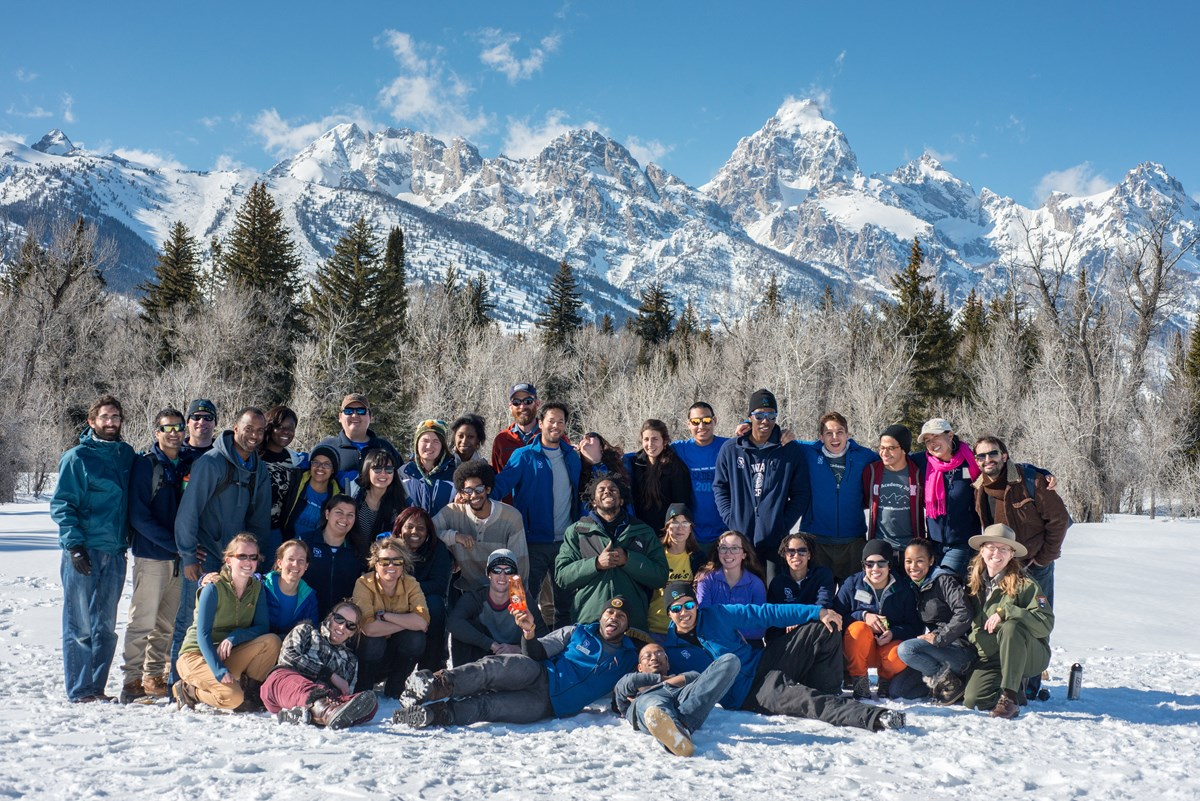 NPS Academy interns in front of the Teton Range