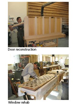 Western Center for Historic Preservation's workshop. Reconstruction of doors, windows, and reglazing windows.