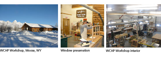 WCHP workshop building in snow. WCHP preservation specialist working on window repair. Interior of WCHP shop.