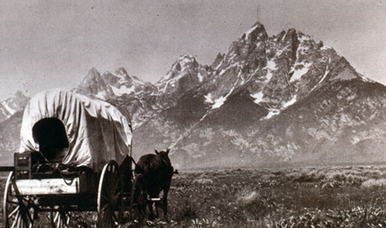 Covered Wagon and Teton Range