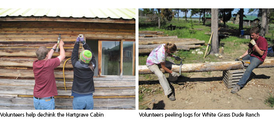 Students from YMCA dechinking the Hartgrave cabin and peeling logs for White Grass.