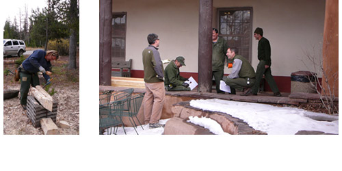 Preservation carpenters working on peeling logs for log replacement on a historic building; PAST leader teaching a group to assess wood column conditions.