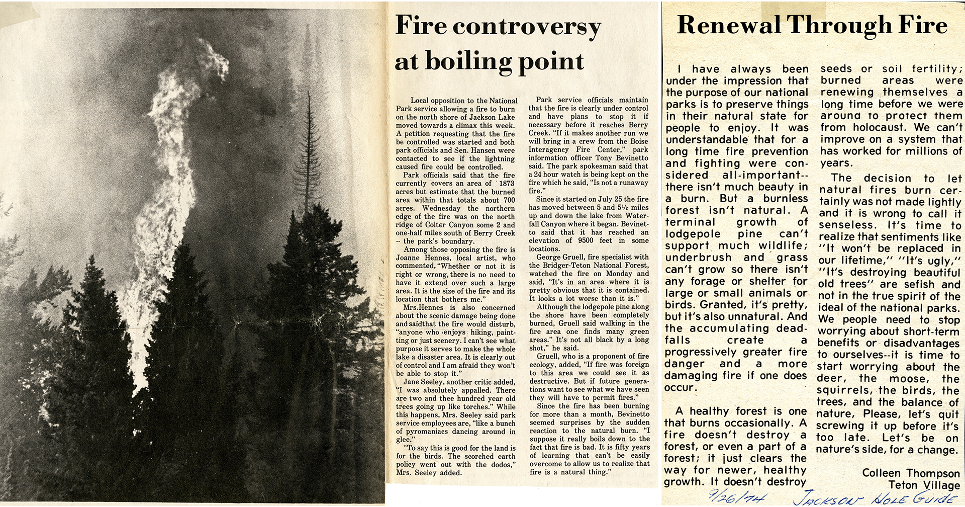 Two newspaper articles discuss the Waterfalls Canyon Fire, one positive and one negative.