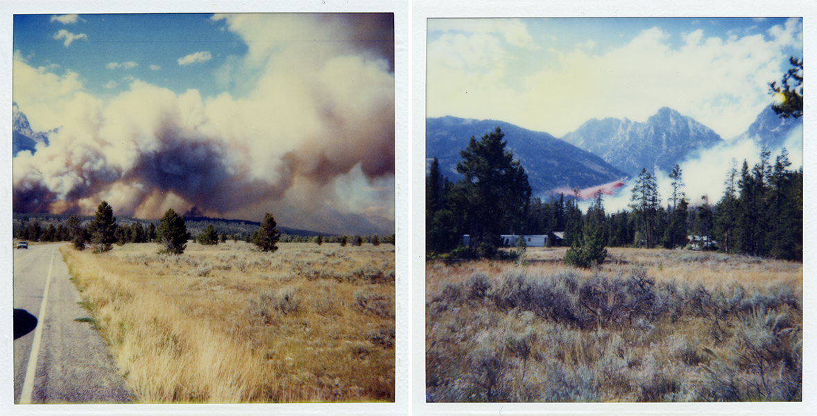 Left image: as cars drive along the park highway, a smoke plume billows in the background in front of the mountains. Right image: a plane drops pink retardant against the backdrop of the Tetons.