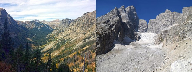 Death Canyon to the left with U-shape. Teton Glacier to the right.