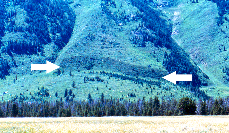 Teton fault scarp along base of Rockchuck Peak.