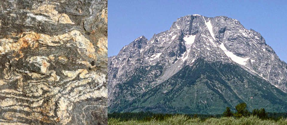 Layered metamorphic gneiss (left) with Mount Moran (right).