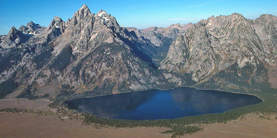 Aerial view of Jenny Lake and Cascade Canyon.