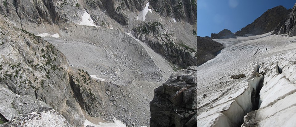 Left: terminal moraine around the Teton Glacier. Right: Crevasses in the Middle Teton Glacier