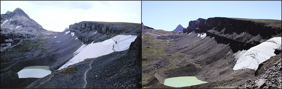 Schoolroom Glacier changes from 1987 to 2007 showing retreat.