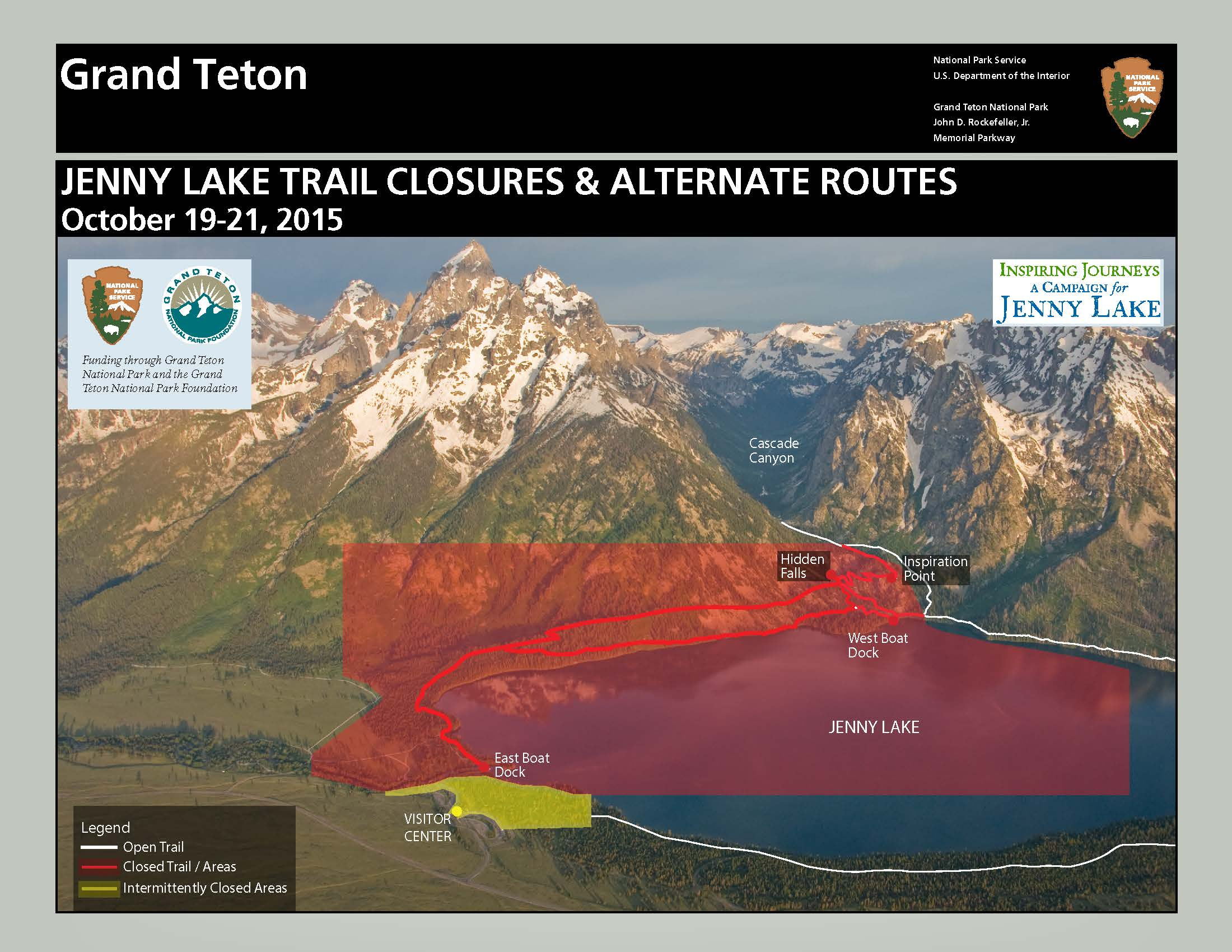 Temporary Closure Scheduled for Jenny Lake Area Grand Teton