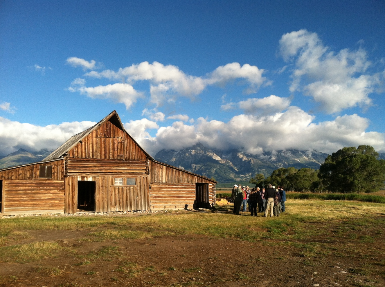 Volunteers gather at the historic T.A. Moulton Barn in Grand Teton National Park
