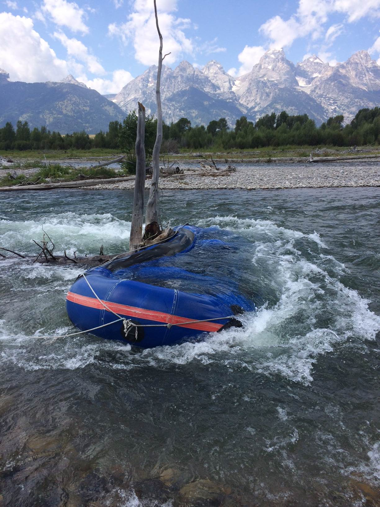 Raft on Snag in Snake River