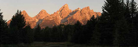 View of sunrise on the Teton Range from Schwabachers Landing.