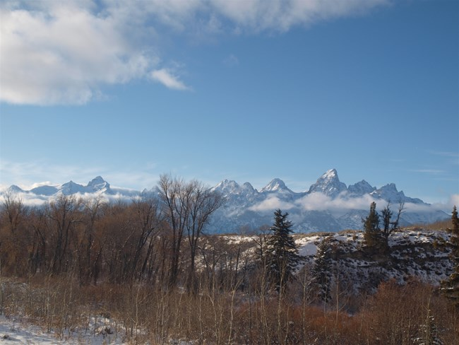 View of Teton Range from the east side of Grand Teton National Park in early winter
