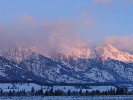 Sunrise over the Teton Range, January 19, 2007
