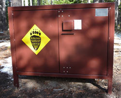 A bear locker located in a frontcountry campground.