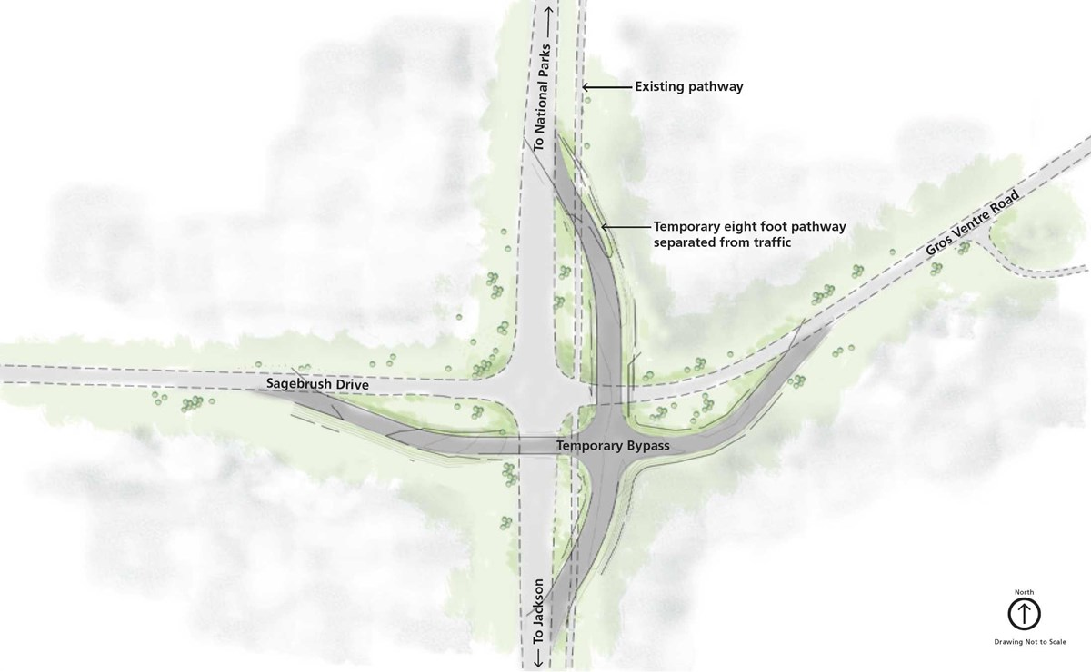 Overhead view of Gros Ventre Roundabout with bypass junction southwest of current junction
