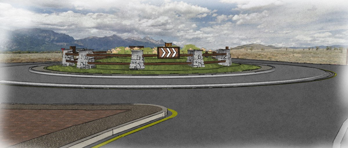 Watercolor rendering of a circular intersection with a grassy middle and stone/rail fencing.