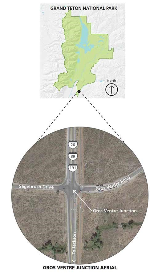 Map boundary of the park with a inset map of a 4 way road junction with a label pointing to the southern tip of the park.